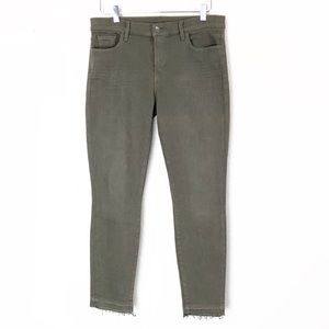 Splendid Raw Frayed Hem Olive Skinny Jeans Pants